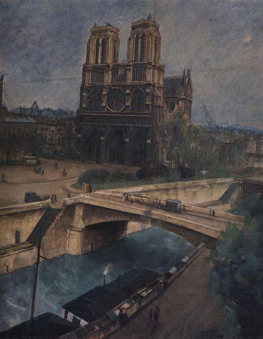 Paris. Notre-Dame. 1924. Kuzma Sergeevich Petrov-Vodkin