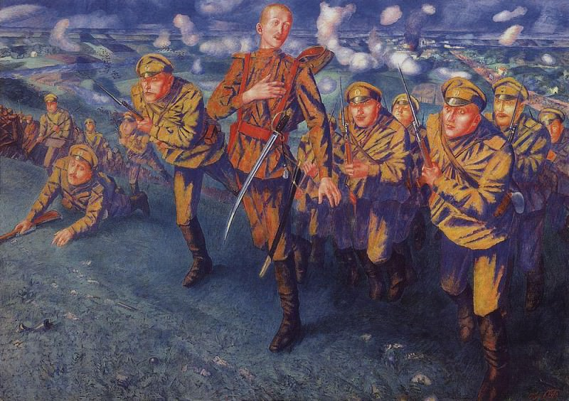 On the line of fire. 1916. Kuzma Sergeevich Petrov-Vodkin