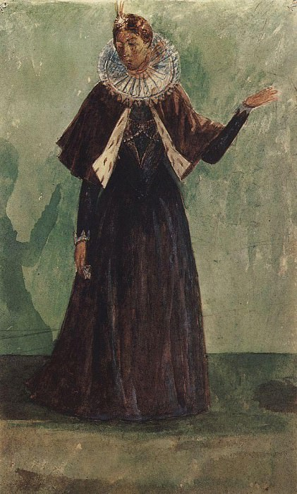 Sketch Marina Mnishek to the tragedy of Pushkins Boris Godunov. 1923. Kuzma Sergeevich Petrov-Vodkin