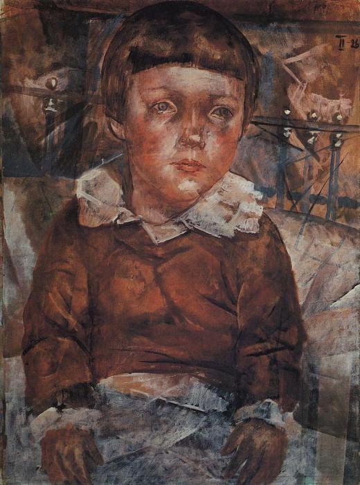 Lenushka in bed. 1926. Kuzma Sergeevich Petrov-Vodkin