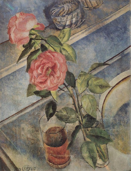 Still life with roses. 1922. Kuzma Sergeevich Petrov-Vodkin