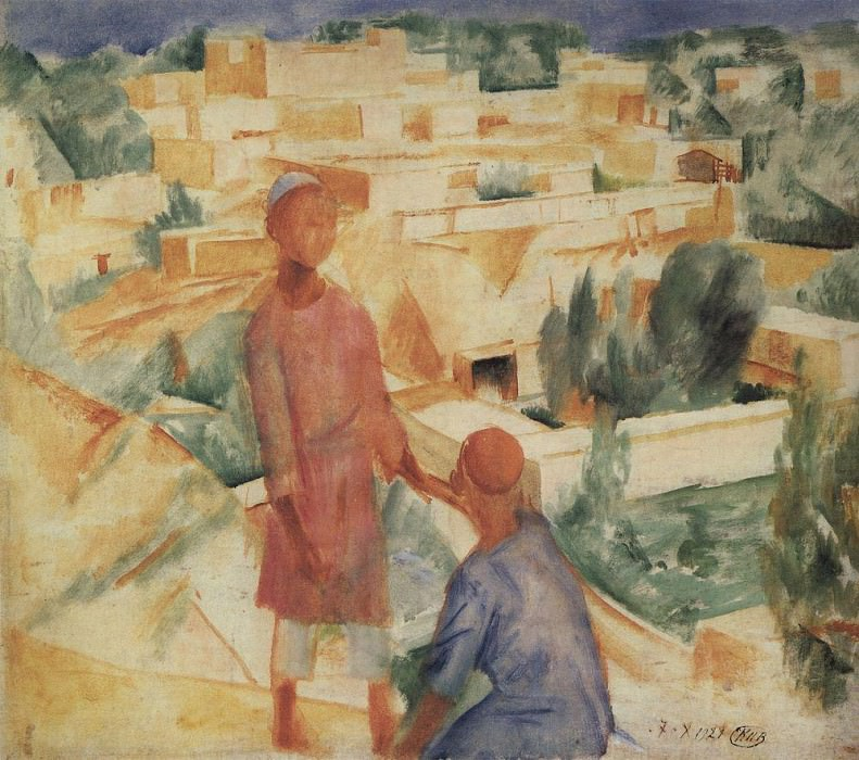 Boys on the background of the city. 1921. Kuzma Sergeevich Petrov-Vodkin