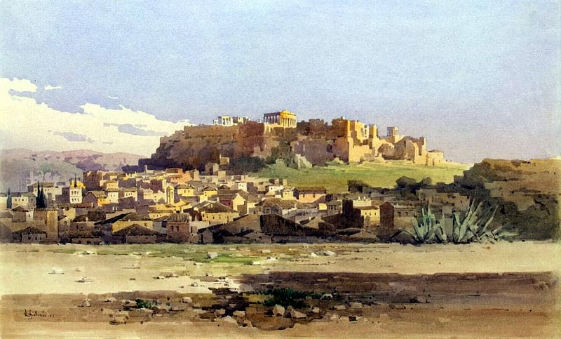 Dzhallina, Angelos - Athens. View of the city at the foot of the hill with the ruins of the Acropolis. Hermitage ~ part 04