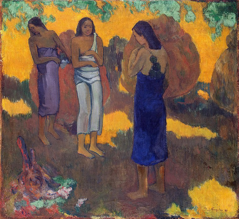 Gauguin, Paul - Three Tahitian on a yellow background. Hermitage ~ part 04