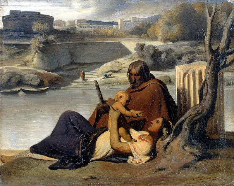 Delaroche, Hippolyte - Rest on the bank of the Tiber. Hermitage ~ part 04