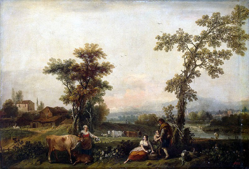 Dzukkarelli, Francesco - Landscape with a woman leading a cow. Hermitage ~ part 04