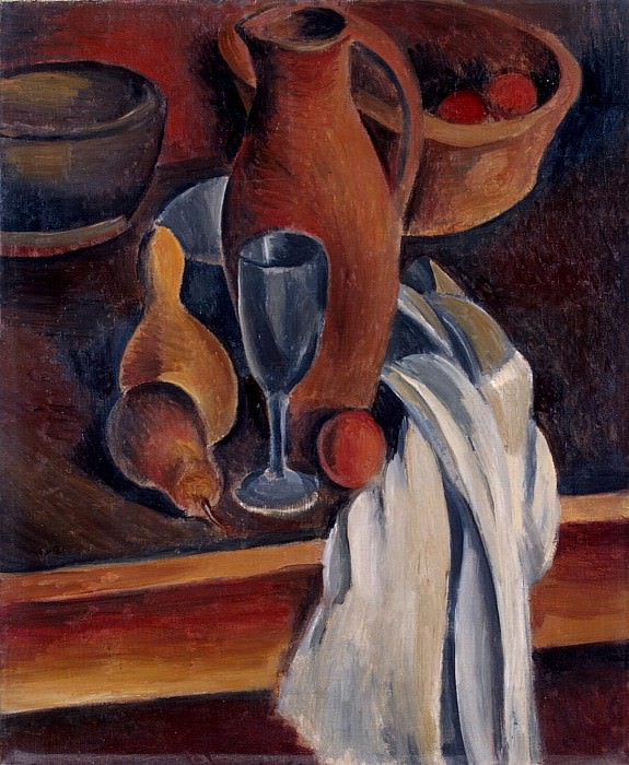 Derain, Andre - Still Life. Crock, white napkin and fruit. Hermitage ~ part 04