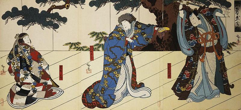 Gosotey Hirosada - Triptych The Actors Dzitsukava Ensaburo, Nakayama, and Nancy Nakamura Utaemon IV. Hermitage ~ part 04