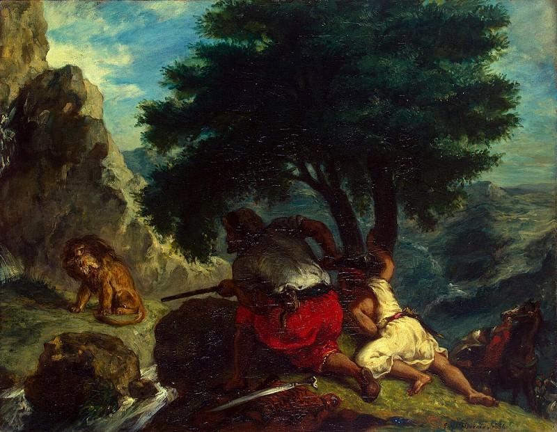 Delacroix, Eugene - Lion Hunt in Morocco. Hermitage ~ part 04
