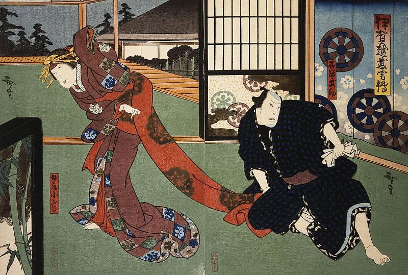 Госотэй Хиросада - Диптих Актеры Натамура Утаэмон IV и Накаяма Нанси III. Эрмитаж ~ часть 4