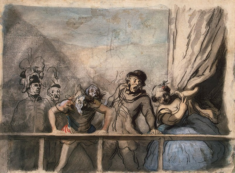 Daumier, Honore - Announcement of speech stray artists. Turnover sketch of a mans head. Hermitage ~ part 04