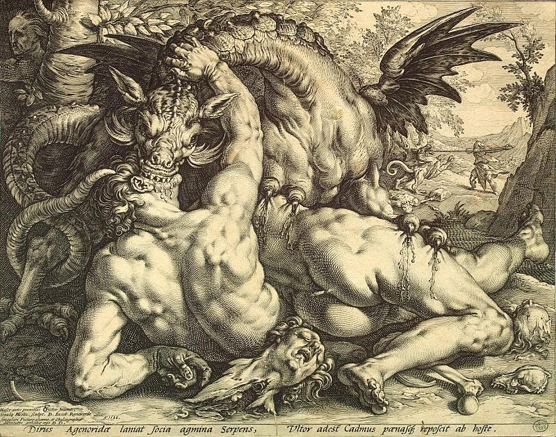 Goltzius, Hendrick - Dragon devours Cadmus satellites. Hermitage ~ part 04