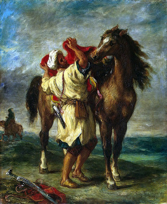 Delacroix, Eugène - Moroccan, saddle horse. Hermitage ~ part 04