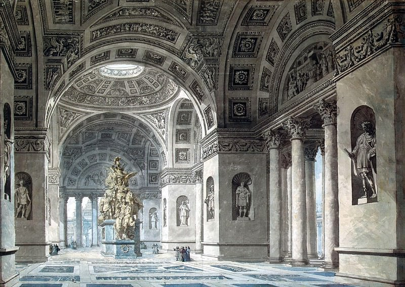 Despres, Louis-Jean - Draft of the Temple of Immortality. Interior. Hermitage ~ part 04