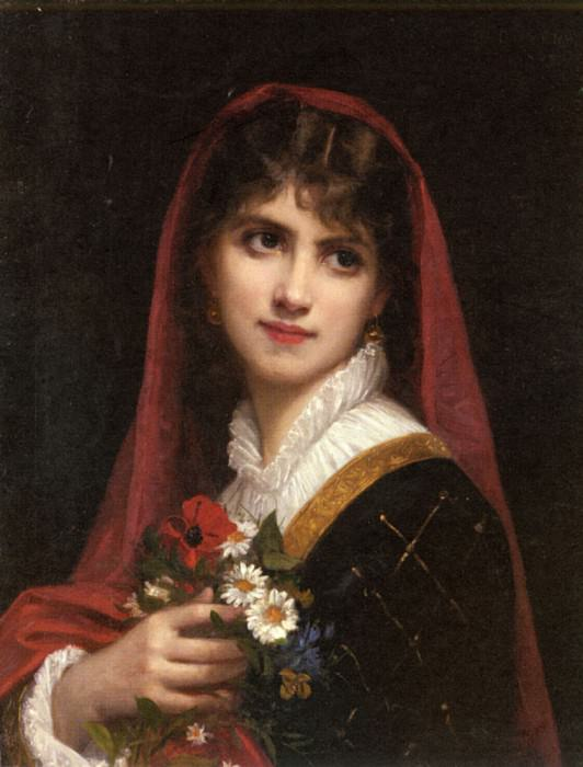 Doyen Gustave A Young Beauty Wearing A Red Veil. French artists