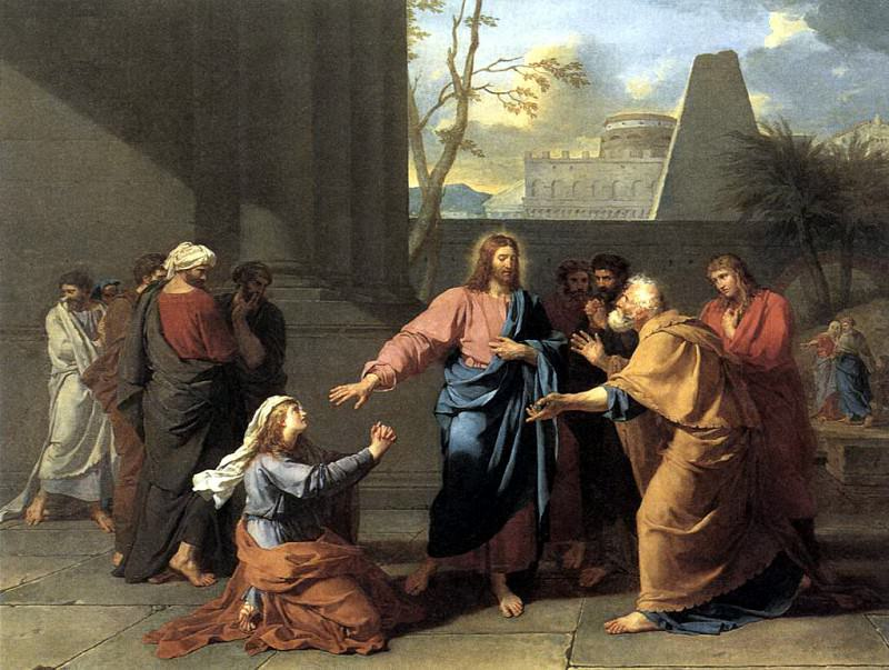 DROUAIS Jean Germain The Woman of Canaan at the Feet of Christ. French artists