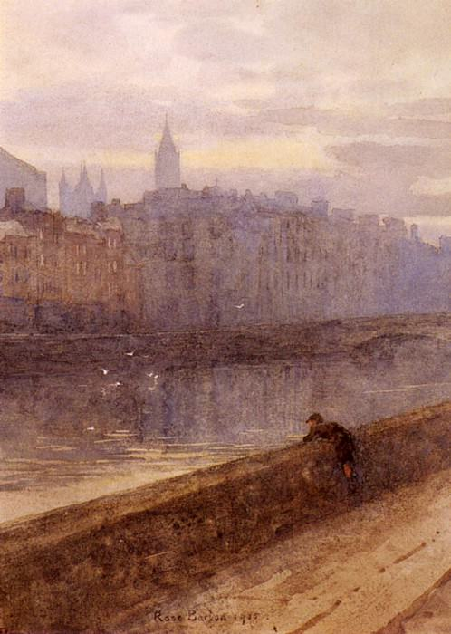 Barton Rose Maynard Evening On The River Liffey With St. Johns Church In Distance. French artists