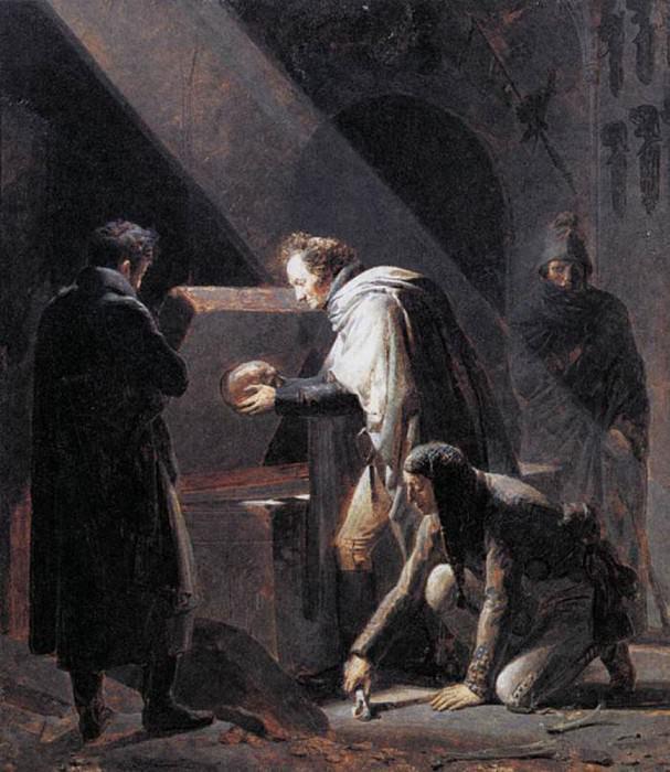 FRAGONARD Alexandre Evariste Vivant Denon Replacing El Cids Remains In Their Tombs. French artists