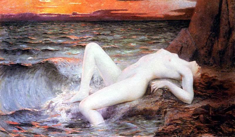 Перрей, Леон Огюст - Девушка, выходящаяя из волны. Французские художники