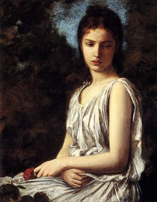 Bellanger Georges A Young Woman In Classical Dress Holding A Red Dress. French artists