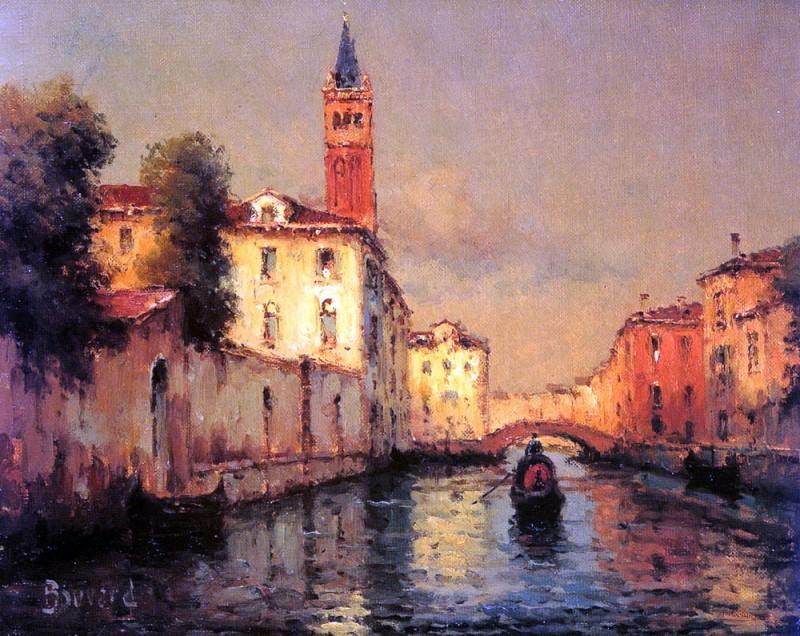 Bouvard Noel Gondolas On A Venetian Canal. French artists