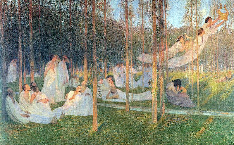 Martin, Henri (French, 1860-1943) - La Derniere Page Du Roman. French artists