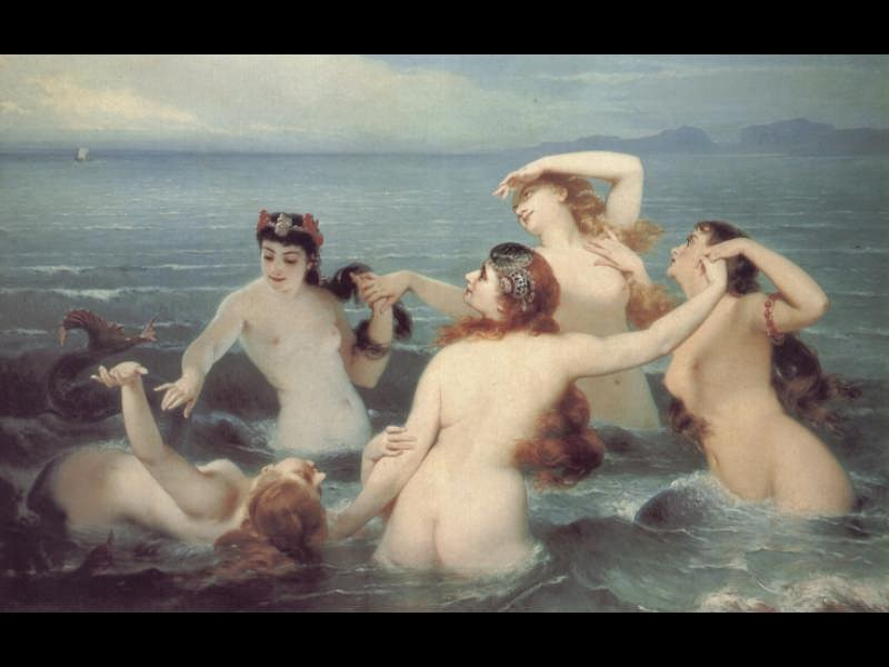 Merle, Hugues (French, 1823 - 1881) - Mermaids Frolicking in the Sea. French artists