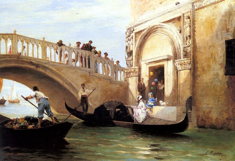 Mouchot Louis Claude Le Depart Pour La Promenade A Venise. French artists