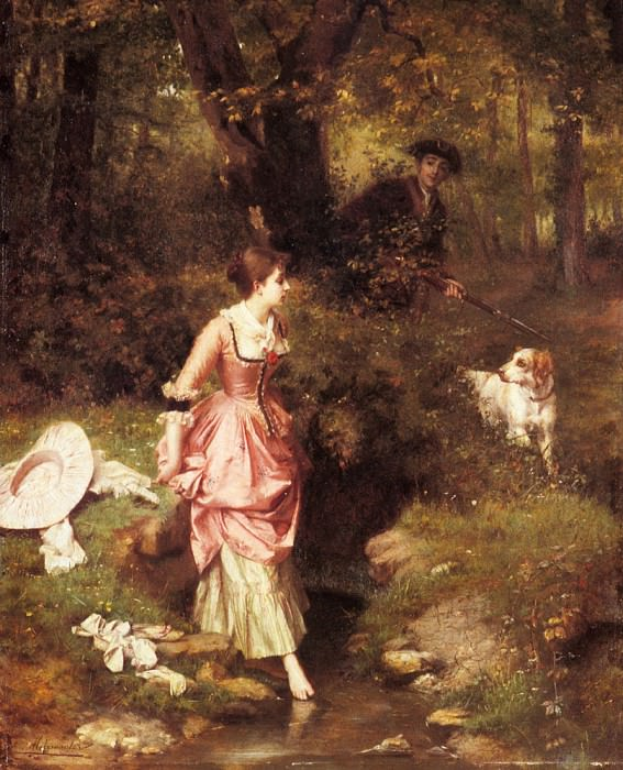 Metzmacher Emile Pierre A young Beauty Crossing A Brook With A Hunter Beyond. French artists
