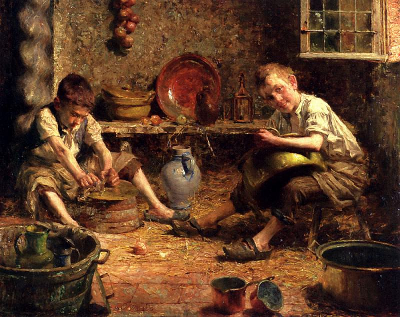 Dierckx Pierre Jacques The Kitchen Hands. French artists
