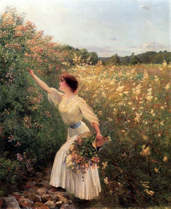 Brouillet Pierre Andre Picking Flowers. French artists