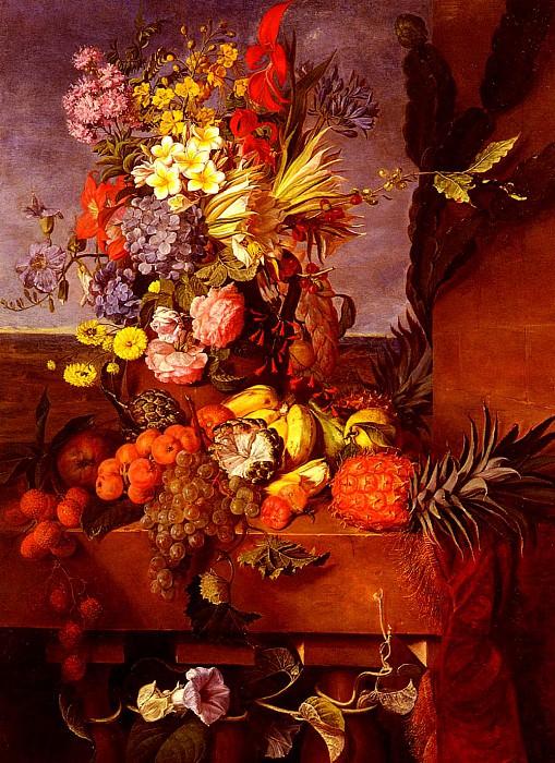 Bourbon Emilie Vase De Fleurs Et Fruits Exotiques Sur Une Balustrade. French artists