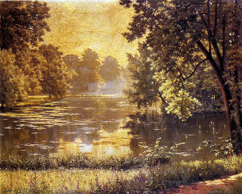 Biva Henri A Wooded River Landscape. French artists
