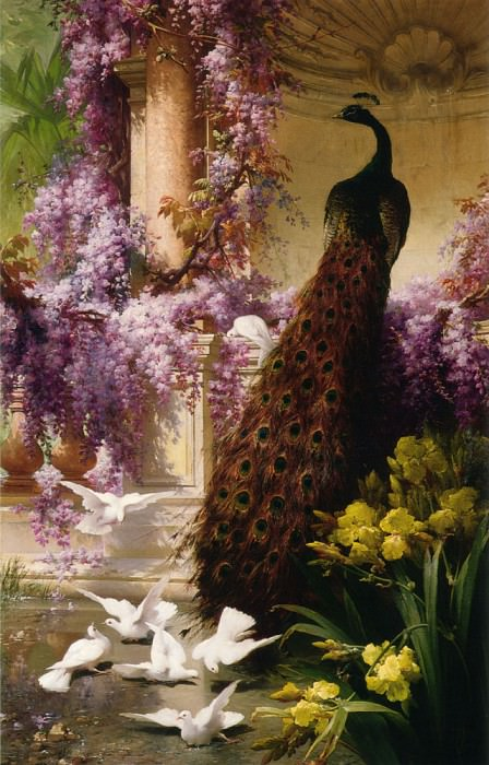 A Peacock And Doves In A Garden. French artists