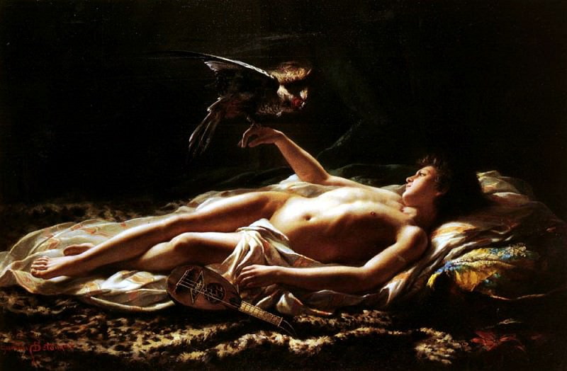 Detanger Germain Nu Masculin Avec Faucon. French artists