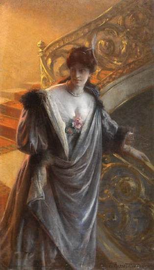 Rosset-Granger Paul Edouard lady on staircaes. French artists