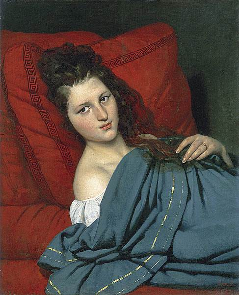 COURT Joseph Desire Half Length Woman Lying On A Couch. French artists