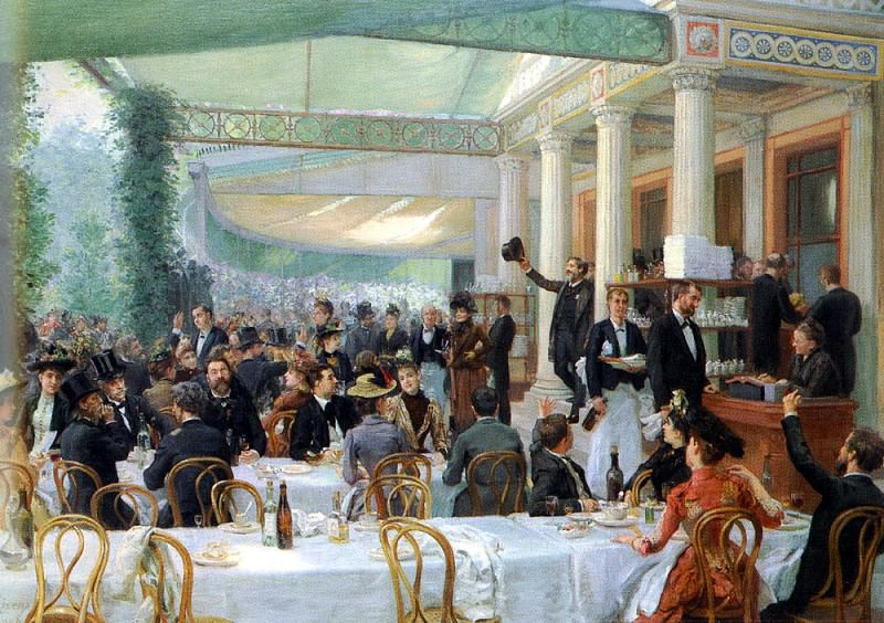 Rixens Jean Andre DEJEUNER DU SALON, AU CAFE LA CASCADE. French artists
