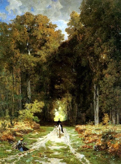 Laurens Jules Joseph Augustin Equestrienne On A Woodland Lane. French artists