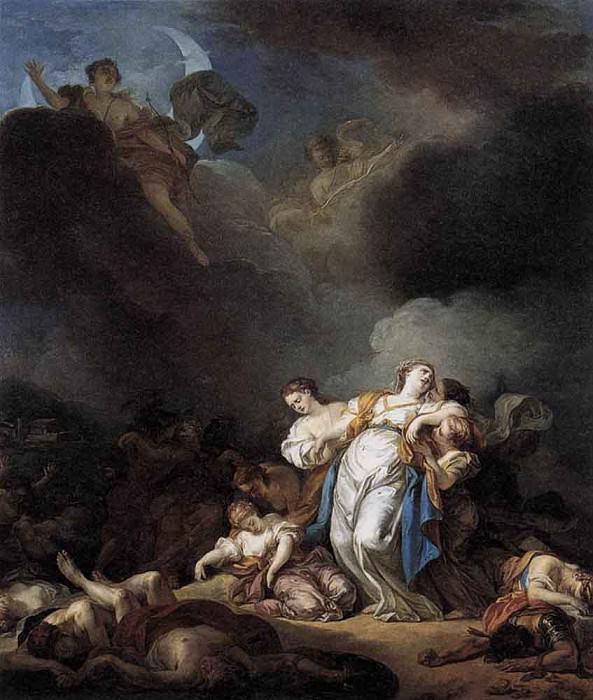 ЛЕМОНЬЕ, Анисет Шарль Габриель - Аполлон и Диана, нападающие на Ниобею и ее детей. Французские художники