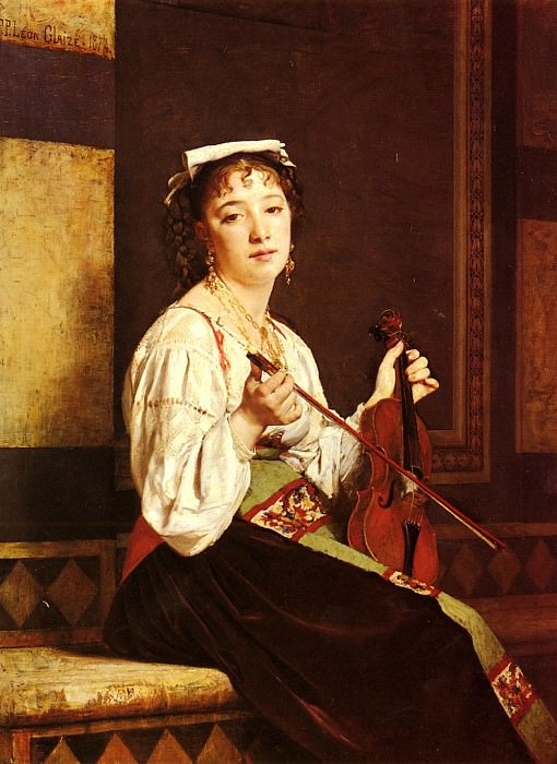 Glaize Pierre Paul Leon Musicienne Italienne. French artists
