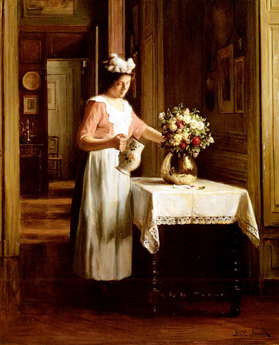 Bail Franck Antoine A Maid Watering Flowers. French artists