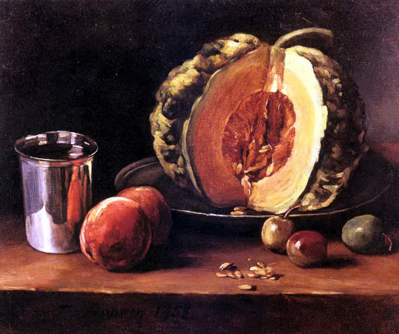 Bonvin Francois Still Life With A Pumpkin Peaches And A Si. French artists