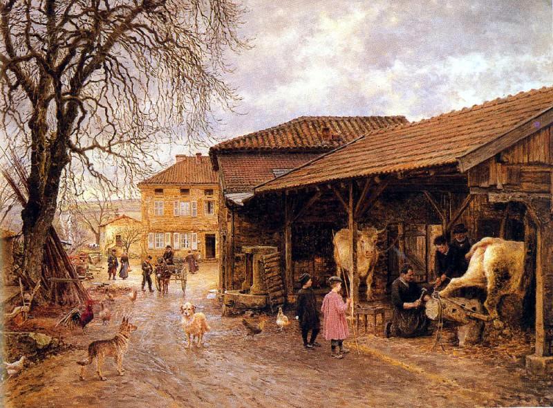 Фирмен, Жирар Мари Франсуа (1838-1921) - Клеймение быков. Французские художники