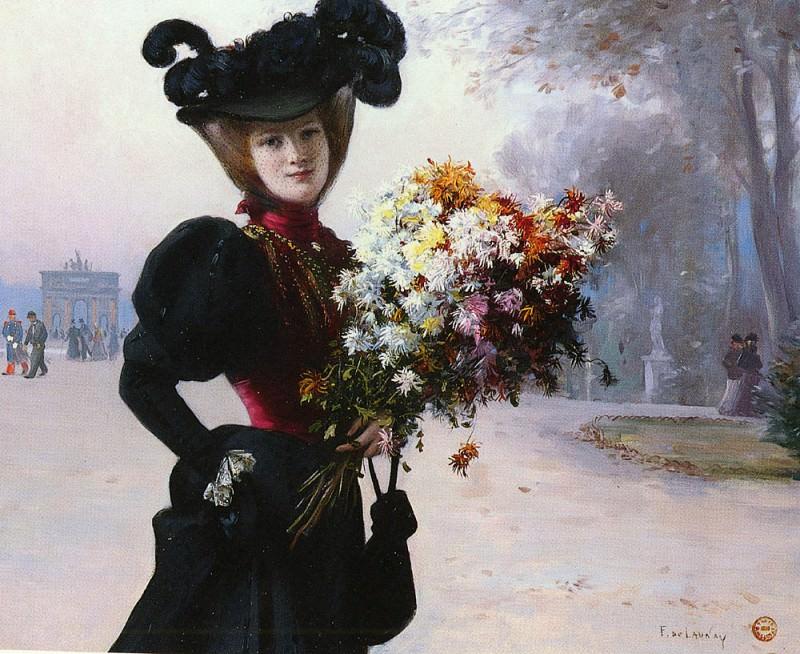Launay Fernand de LA FEMME AU FLEURS, JARDIN DU TUILERIES. French artists