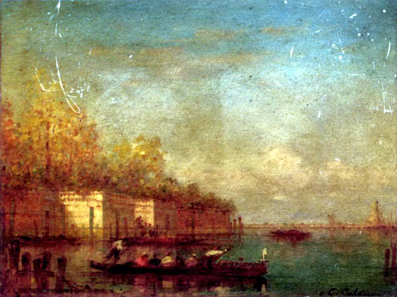 Calderon Charles Clement Setting Off In A Ferry In The Venetian Lagoon. French artists