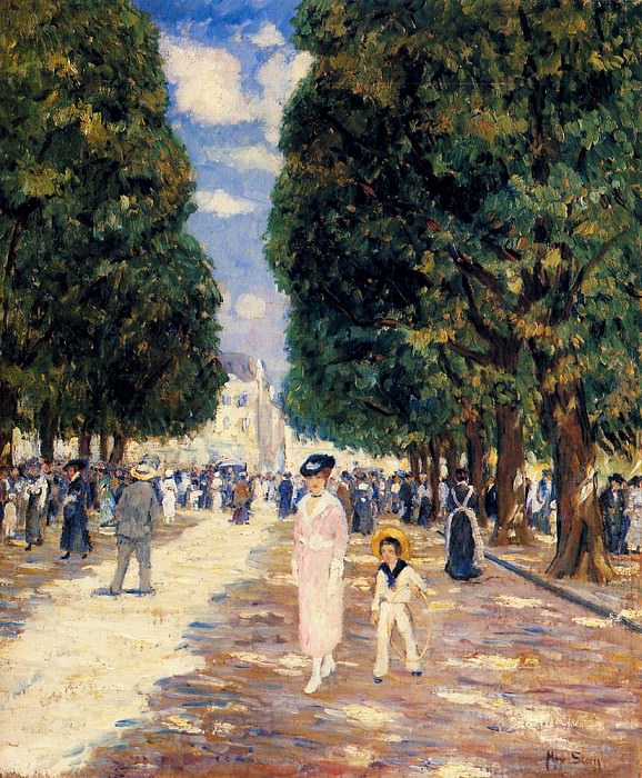 Stern Max Figures In A Park On A Sunny Day. French artists
