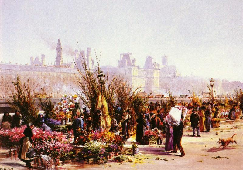 Fraipont Georges (French) 1873-1912 Le Marche Aux Fleurs A Paris OC 65by92cm. French artists