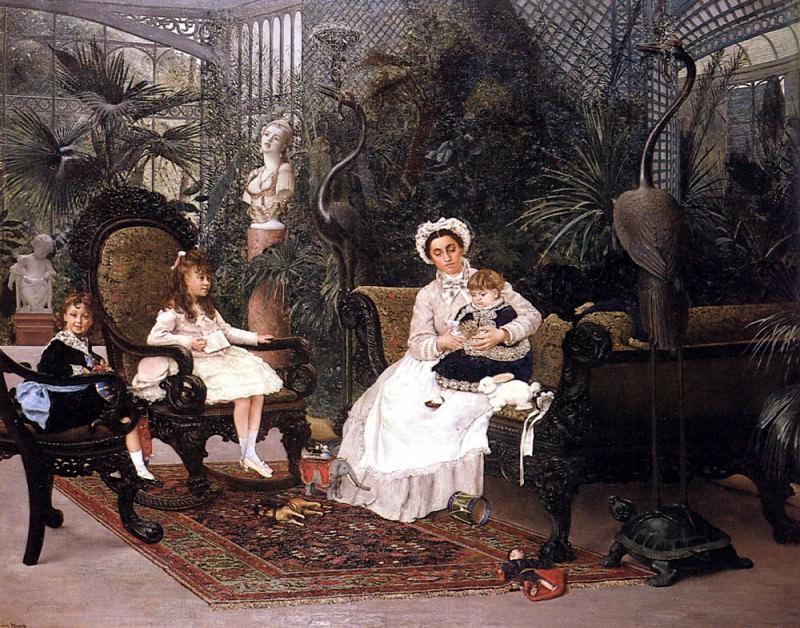 Hirsch Alphonse Les Enfants Camando Dans Le Jardin D Hiver De Leur Hotel Particulier. French artists