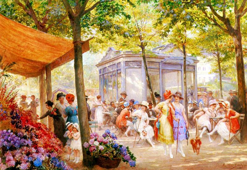 Deully Eugene Auguste Francois La Marche Aux Fleurs. French artists